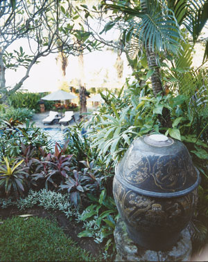 A view of the courtyard at Hotel Tugu Bali