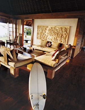 The open-air living room at the Istana villa in Bali.